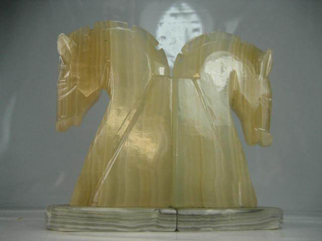 Zwei Vintage Pferde Buchstützen aus Onyx und Marmor 20er Jahre Art Deco Stil | Realistisch
