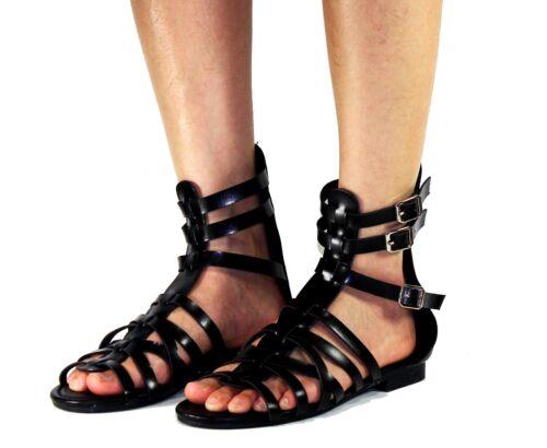 atta-04 Fashion Flats Zipper Buckle Sandals Gladiator Party Beach Women/'s Shoes