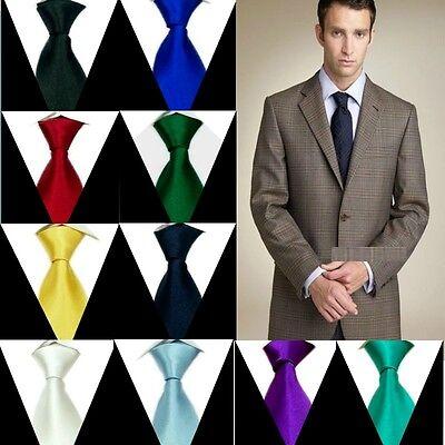 Solid Mens Neck Tie 100% Silk Handmade Plain Necktie SH