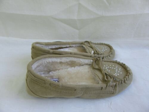 Girl/'s Youth Bongo Altine Moccasin Slip On Slippers Style 11395 Tan 2A New