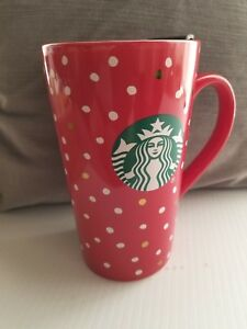 Starbucks-Christmas-Anytime-Mug-Red-w-White-and-Gold-039-Snow-039-Design-14-oz