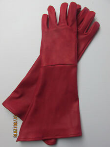 MEN-039-S-RED-DEERSKIN-LEATHER-LONG-CUFF-GAUNTLET-GLOVES-MADE-IN-THE-USA