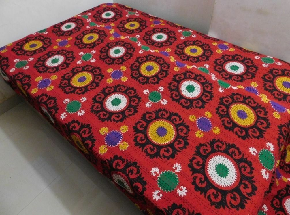 INDIAN KANTHA QUILT COTTON RED SUZANI BEDSPREAD BLANKET THROW TWIN SIZE QUILT