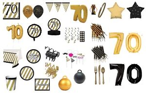 AGE-70-BLACK-amp-GOLD-HAPPY-BIRTHDAY-PARTY-DECORATIONS-70th-TABLEWARE-cp