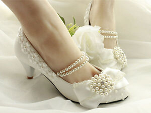 268c0dc01133 Details about Lace Bow Wedding Prom Rhinestone Bridal shoes High Heels Low  Heels flat shoes