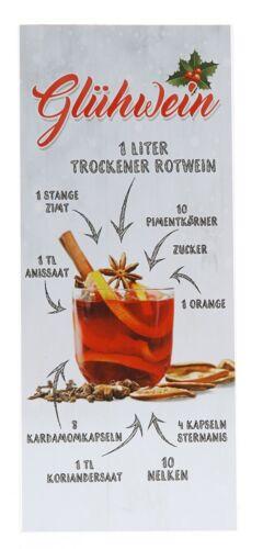 Holzbild Glühwein Rezept 15 x 35 cm Wandbild alkoholische Mixgetränke