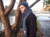 Men's Premium 'Birdseye' Pattern Scarf & Beanie Hat in 100% British Wool