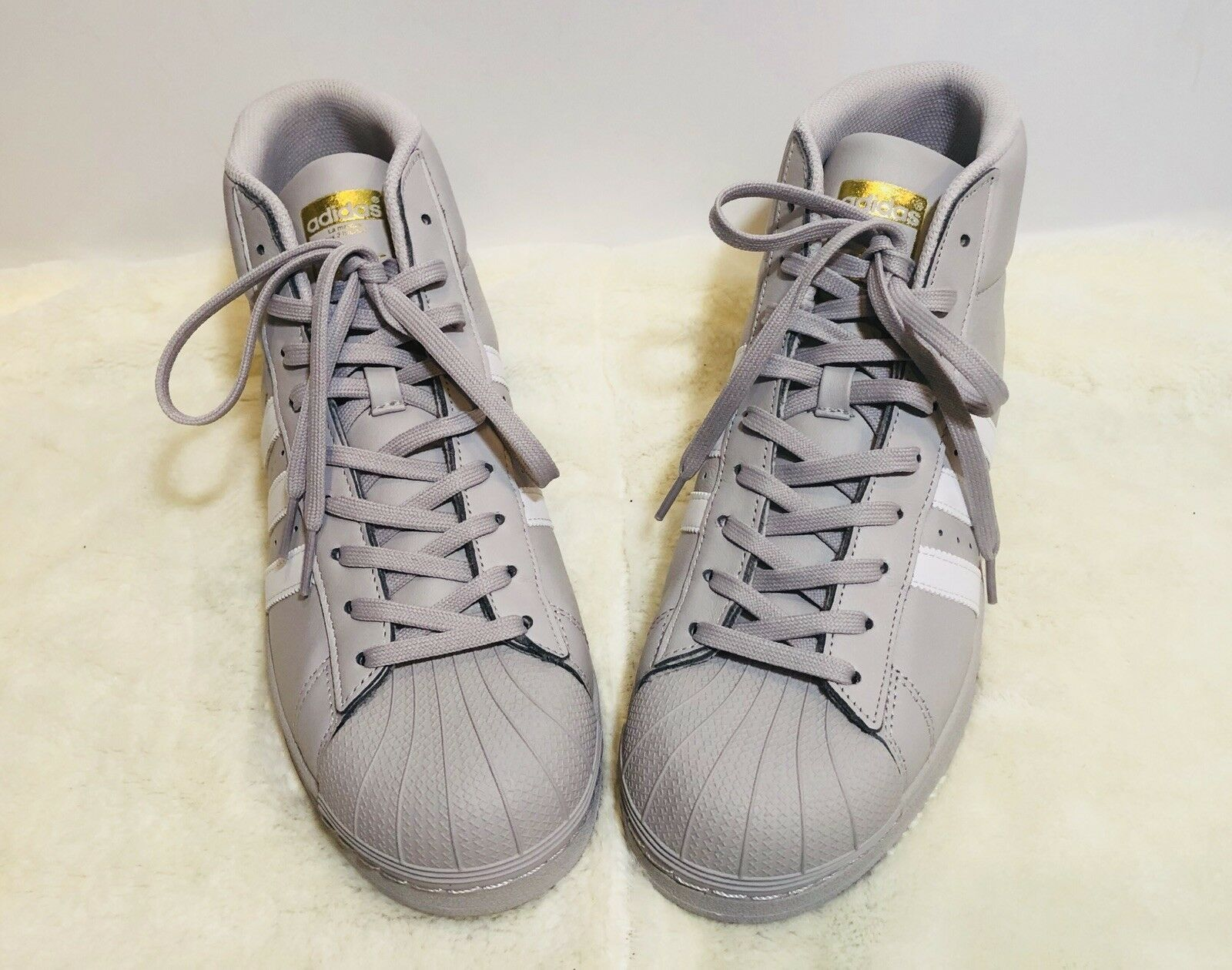 Adidas Mens Originals Performance Pro Model Solid Grey Leather Sneakers Size 10