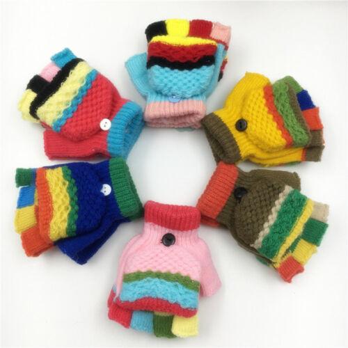 Infants Toddler Kids Baby Warm Winter Gloves Toddler Boy Girl Striped Mittens