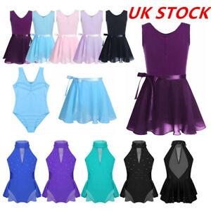UK-Kids-Girls-Ballet-Dance-Dress-Modern-Leotards-Tutu-Skirt-Outfit-Set-Dancewear