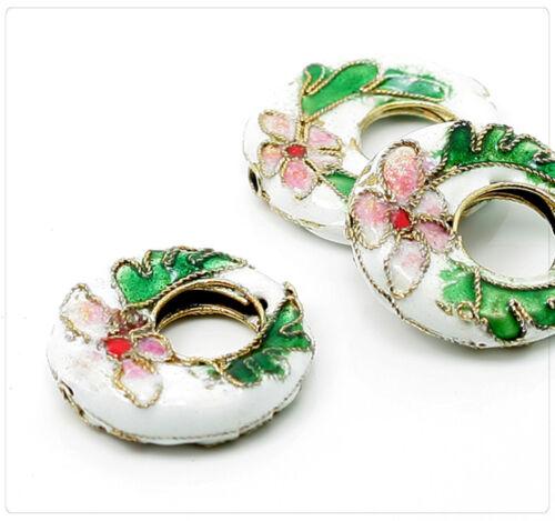 2x Métal CLOISONNE EMAUX Perles Beads Bijoux Bricolage À faire soi-même 21 mm blanc cb041