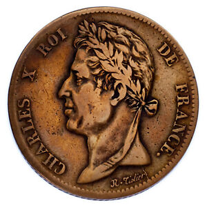1825-A-French-Colonies-5-Centime-Coin-Very-Fine-VF-KM-10-1