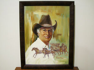 CALIFORNIA-ARTIST-HARLAND-YOUNG-SELF-PORTRAIT-w-HORSES-OIL-CANVAS-PAINTING