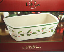 Lenox Holiday Carved Mini Loaf Pan Oven Safe Holly & Berry Motif Porcelain New