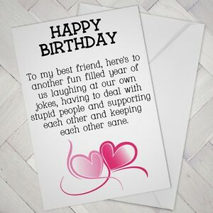 Elegant BEST FRIEND Birthday CARD FRIENDS Funny Mate Humour Another Year 119  Support .