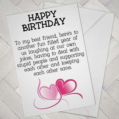 Super Best Friend Birthday Card Friends Funny Mate Female Girl Support Personalised Birthday Cards Veneteletsinfo