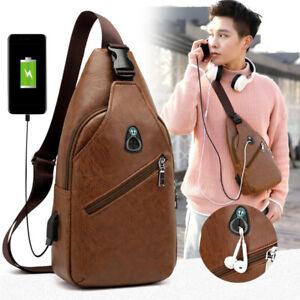 Mens-Leather-Shoulder-Bag-Sling-Chest-Pack-USB-Charging-Crossbody-Handbag-Sport