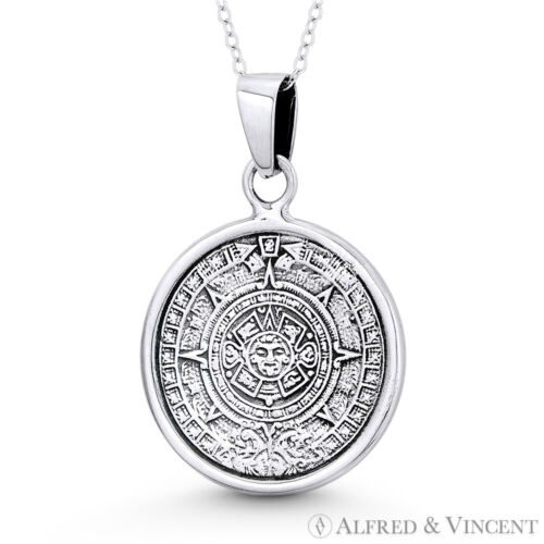 Mayan Calendar Aztec God Tonatiuh Charm 37x25mm Pendant in .925 Sterling Silver