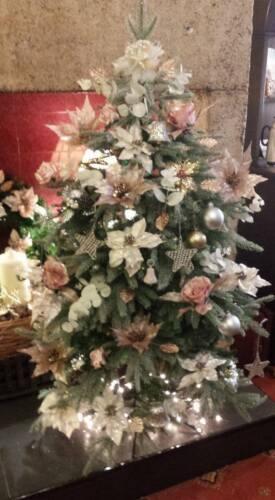 10cm CLIP ON Gift Christmas Tree Flower Decoration Ivory Rose Gold Glitter Rose