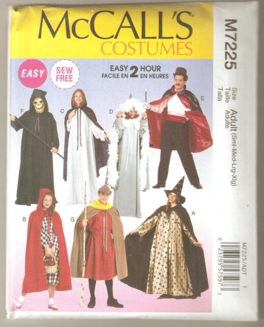 McCall's Sewing Pattern M7225 Adult Easy 2 Hour Tunic & Cape Costumes Sz S-XL