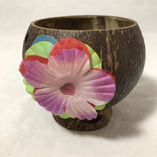 Real Carved Coconut Party Drink Cups Hawaiian Luau Tiki BarWare Pink Flower