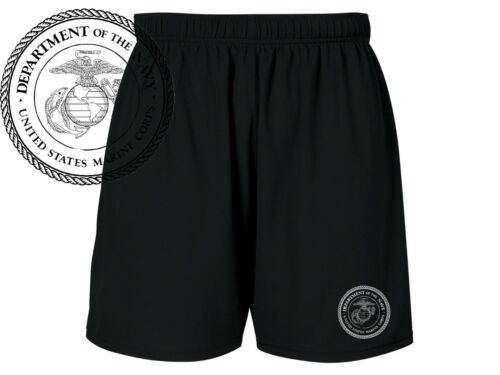 US Marines USMC military training sweat proof polyester mens black shorts