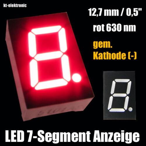"""- 1 Stück LED 7-Segment Ziffernanzeige 12,7mm 0,5/"""" rot 630nm gem Kathode"""