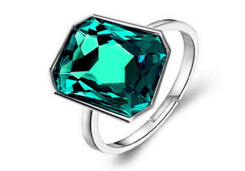 M O Q adjustable ring open back blue green white large stone women finger rings