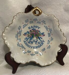 Details about Happy Anniversary Collectible Plate VTG Gifts Milestone Years  Made in Japan 70's
