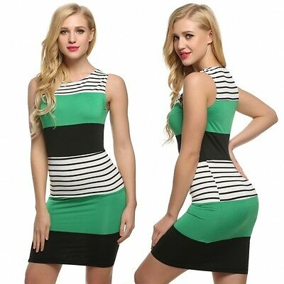 Women Sleeveless Striped Contrast Color Patchwork Dress