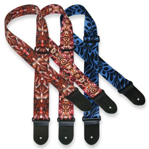 ░▒▓█ Tattoo Johnny Gitarrengurt █▓▒░ Polyester Design Motiv blau rot Ende Leder