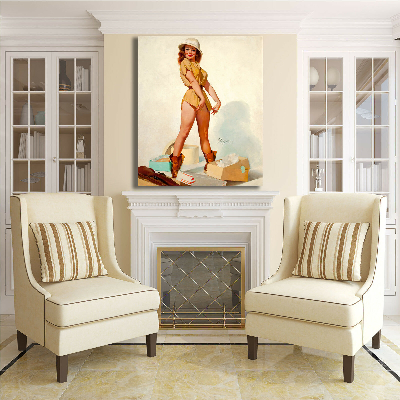 Pin Up vintage anni 50 quadro 60 70 design quadro 50 stampa tela telaio arRouge o casa 15 396d86