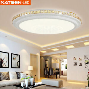 Details zu NATSEN® Kristall LED Deckenlampe Wohnzimmer Deckenleuchte  Bernstein 30W Dimmbar