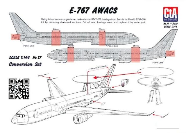 CTA Decals 1//144 BOEING E-767 AWACS JASDF Resin Conversion Kit with Decals