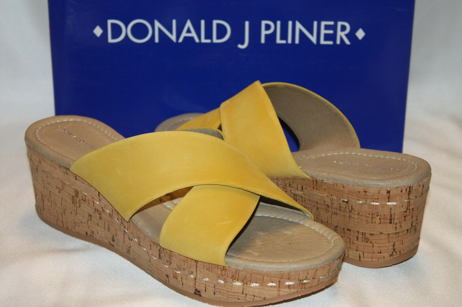 NEW NIB DONALD J PLINER Sungold Nubuck SYNA Platform Cork Wedge Sandals 9.5  250