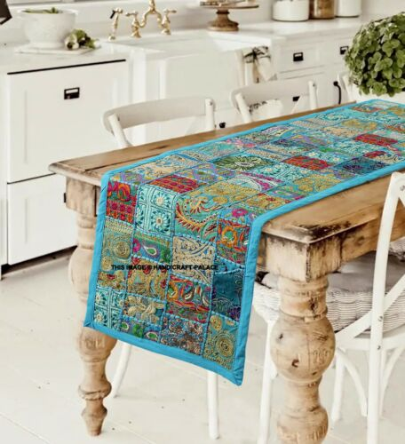 Handmade Indian Cotton Patchwork Table Runner Embroidered Dining Table Tapestry
