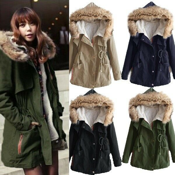 Womens Winter Warm Thick Fleece Faux Fur Coat Jacket Parka Hooded Trench Outwear
