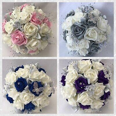 wedding bouquets brides posy teardrop flowers Ivory purple rose butterfly