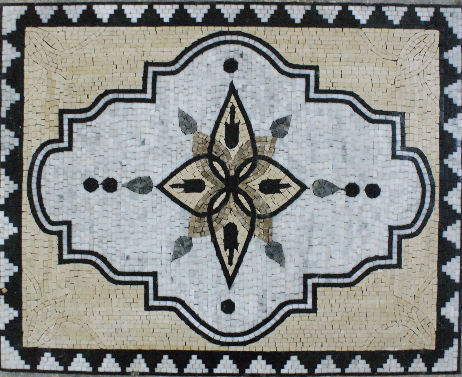 Floor Carpet Decoration With Triangular  Marble Mosaic GEO2101