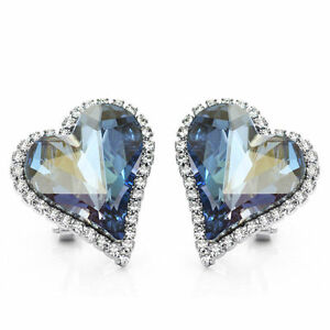 White-Gold-Plated-Made-With-Sparkly-Swarovski-Crystals-Blue-Heart-Stud-Earrings