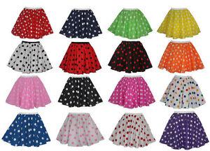 """Polka Dot 15"""" Skater Skirt ONLY Full Circle Fancy Dress 60s Rock n Roll 8-14 UK"""