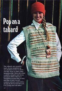 """Courageux ~ Feuilleté Knitting Pattern For Lady's Confortable Coloré Tabard ~ 32"""" ~ 42"""" Buste-afficher Le Titre D'origine Prix Fou"""