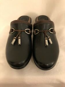 Ariat-Womens-Mules-Size-5-5M-Black-Brown-Leather-Slip-On-Tasseled-Shoes-Clogs