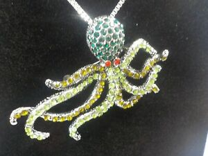 BN Silver Bling 2 in 1 Necklace Brooch Pink mix crystal Octopus on Long chain