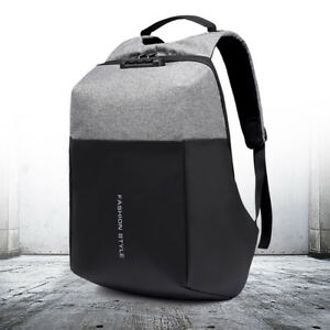 5beedbe0b3f Image is loading Men-Anti-theft-Lock-Waterproof-Backpack-Laptop-School-