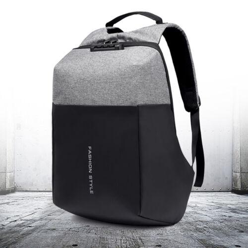 Men Anti-theft Lock Waterproof Backpack Laptop School Bag USB Charging Port