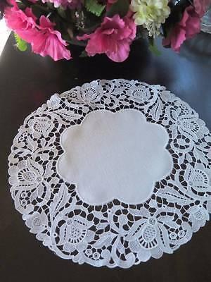 """Beautiful Antique Linen Schiffli Floral Lace Trim Doily 11"""""""