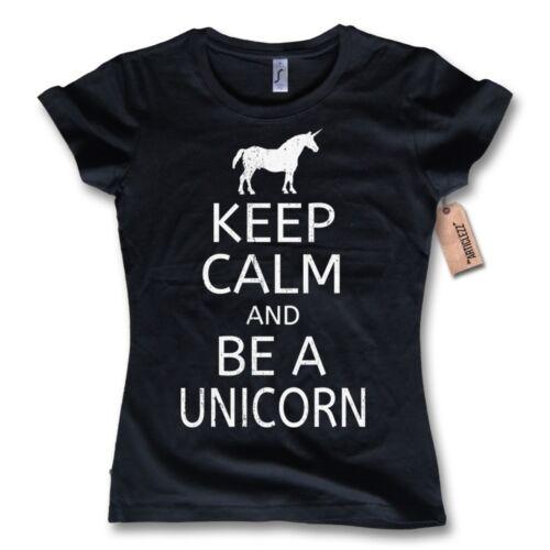 "Damen T-Shirt /""KEEP CALM AND BE A UNICORN/"" 100/% Baumwolle schwarz S M L XL"