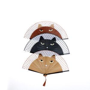 Japanese-Cosplay-Silk-Bamboo-Cat-Hand-Held-Cartoon-Cat-Folding-Fan-Party-Gw