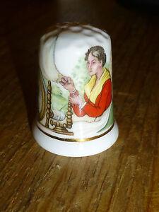 Porcelain thimble Fine bone china  Historic scene Lady spinning - <span itemprop=availableAtOrFrom>Ballymoney, Antrim, United Kingdom</span> - Porcelain thimble Fine bone china  Historic scene Lady spinning - Ballymoney, Antrim, United Kingdom